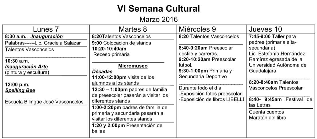 Semana Cultural Marzo 2016
